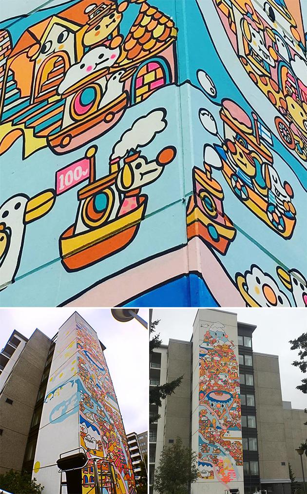 Messy Desk在這棟樓高七層的大廈外牆畫滿芬蘭的特色元素,包括紅白燈塔、跳台滑雪台、雪山和鄰近的城市面貌。當時亦正值芬蘭立國一百周年,她特別為此而畫下《100v》和當地國旗。