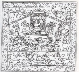 薩珊國王宴飲圖(隋虞弘史槨浮雕線描圖)