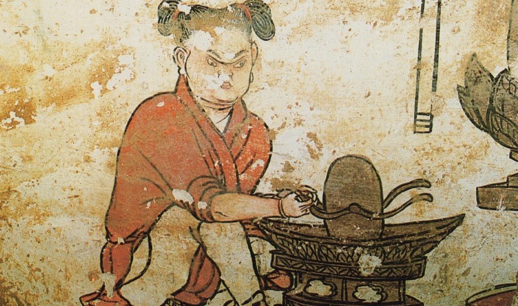 童子碾茶粉(遼墓壁畫局部)