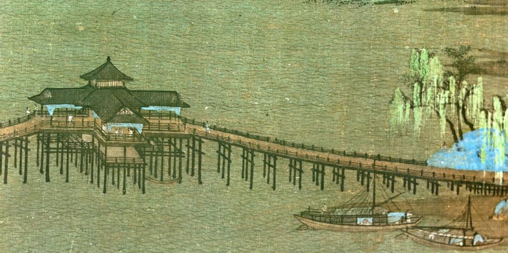 《千里江山圖》局部──長橋與橋上樓閣