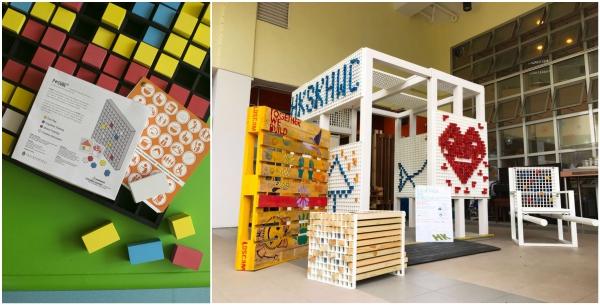 (左)由治療師和設計師共同設計的P-Cube,有望推出市場。運用相同原理,(右)加大版的P-Cube能讓更加人參與其中,合力製作大型公共傢俬。