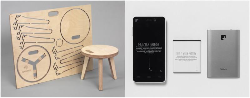 (左)公平貿易手機Fairphone的生產尊重自然環境,並保障員工得到合理待遇及工作環境;(右)線上平台Opendesk提供開源家具設計及生產資源,將小批量生產重新引入社區,現已正式進駐中國。