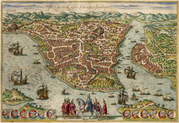 目前最古老、唯一一張1453年前的君士坦丁堡地圖,上方為加拉塔區。