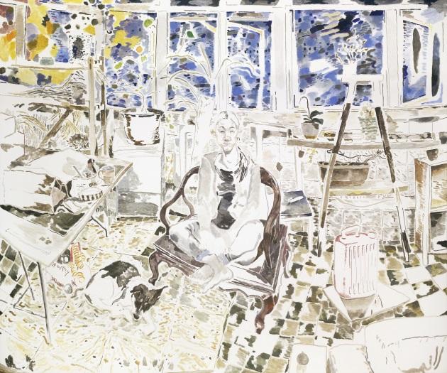他的畫作經常以周遭的人與事物作主題,好像作品《Haze》。