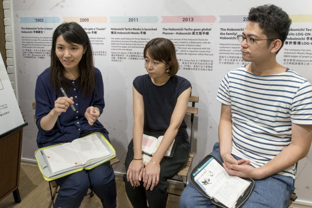 (左起)品牌國際總監林直子、產品開發部的笠井詩織及網站內容編輯平野慎也,早前在又一城LOG-ON ToGather舉行品牌首個海外用家分享會。