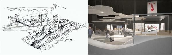 今年DesignInspire意大利館的設計,以海浪元素貫穿場館空間。
