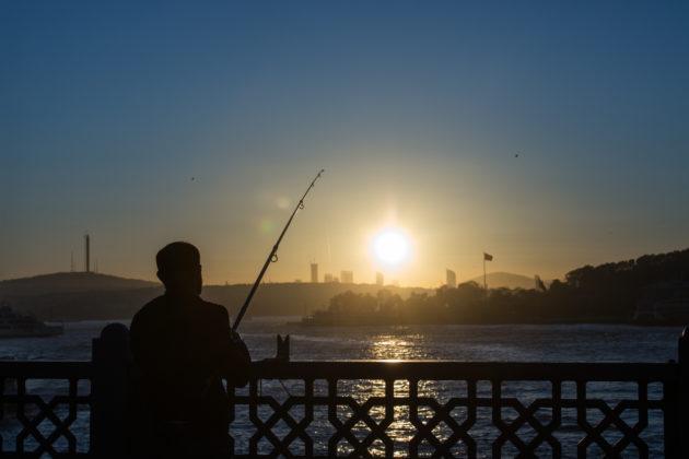 旭日初升,釣魚像釣着太陽。