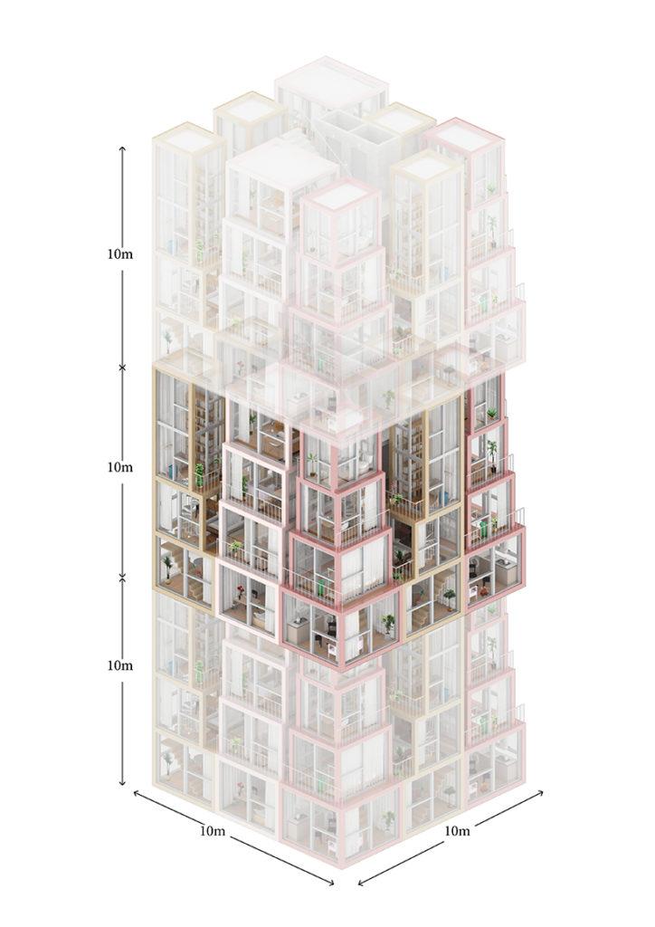每個單位的總高度同是十米,最少需要100平方米土地便可組裝。