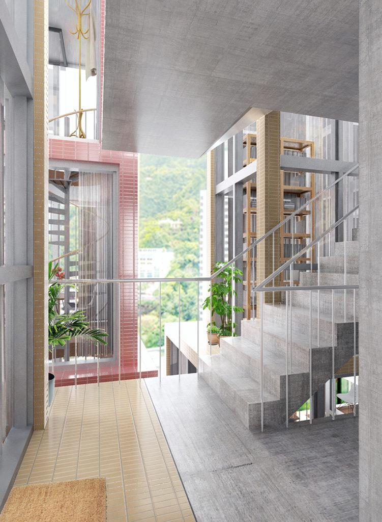 單位間的空隙,則自然成為樓梯、露台、走廊等公共空間。