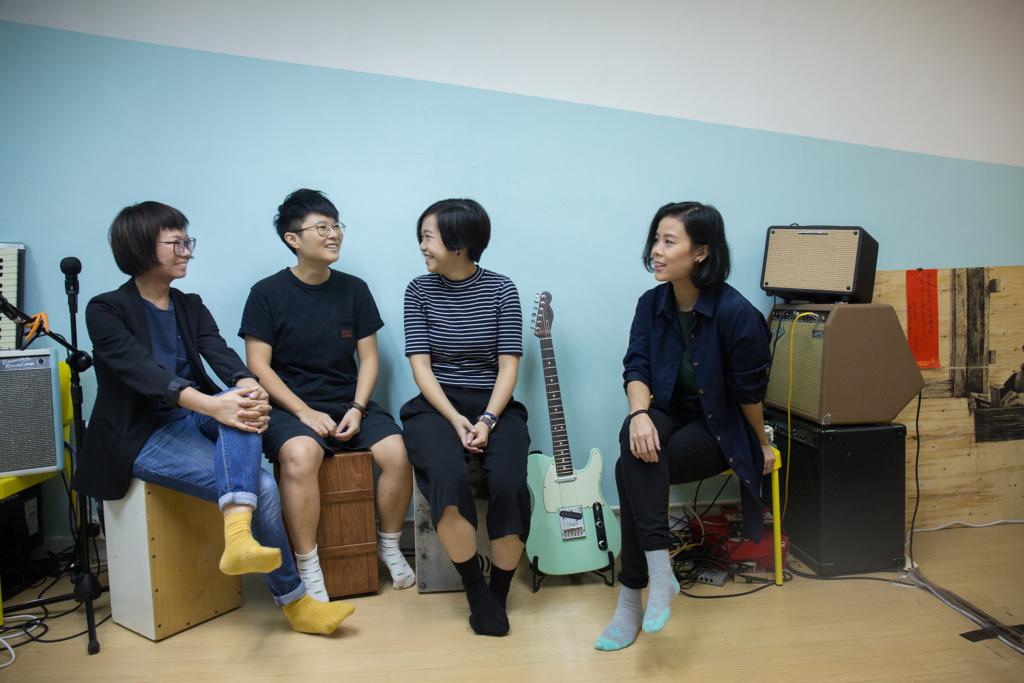 雞蛋蒸肉餅成員(左起)結他手Soni、主唱Soft、低音結他手Wing 及鼓手Heihei。