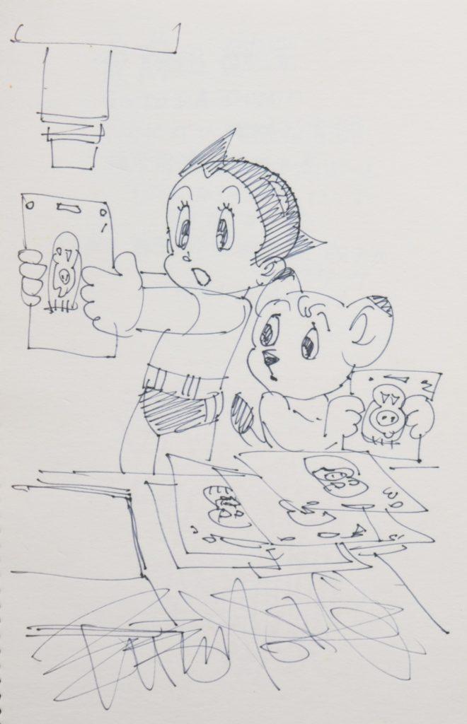 盧子英當了動畫師後在影展重遇手塚,對方當場畫了兩個最知名的主角阿童木與小白獅送他,鼓勵他繼續創作。