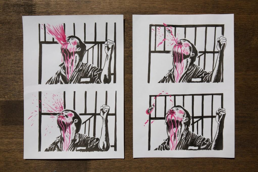 《監獄風雲》發哥狠狠咬斷仇人獄警耳朵,血與耳朵在半空四濺,Rex以連環圖呈現整個過程。