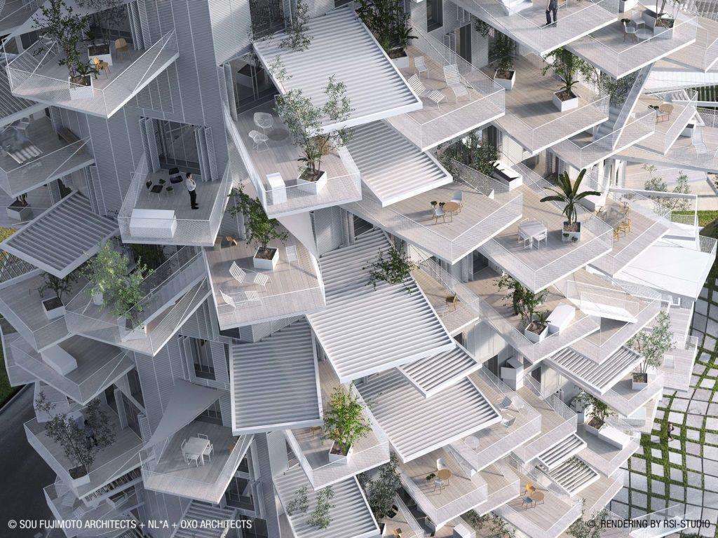 樓高十七層的L'Arbre Blanc大樓拔地而起,長成參天大樹,是充滿生機的建築物。(圖片©SFA+NLA+OXO+RSI)