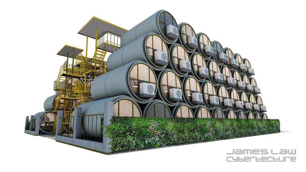 一個1:1的O-Pod單位模型將於場內展出,給參觀者親身體會住水管屋的滋味。