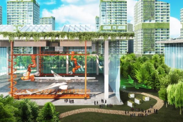 Avoid Obvious Architects為深圳寶安區30公里長的G107高速公路範圍,設計未來城市方案,探究綠色交通網絡的可能性。