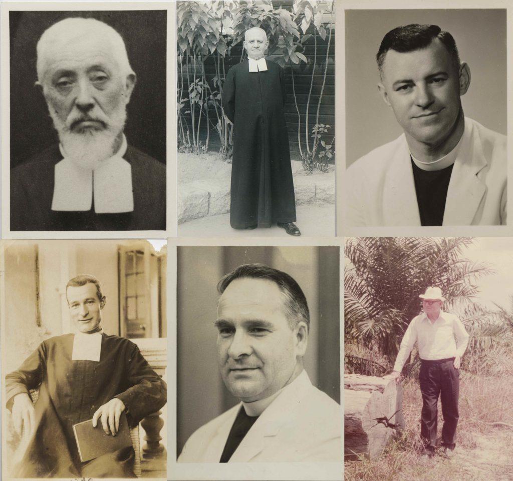 (上行左起)艾瑪修士(1873-1945)為建造書院殫精竭慮;加斯恩修士曾到英國國會陳情,要取回書院;畢列登修士(1914-1998);(下行左起)保祿修士(Brother Paul O'Connell)是二戰時在香港的三位修士之一;嘉士美修士任校長期間死於心臟病;賀文修士戰後特地重回當年避禍的馬來西亞叢林