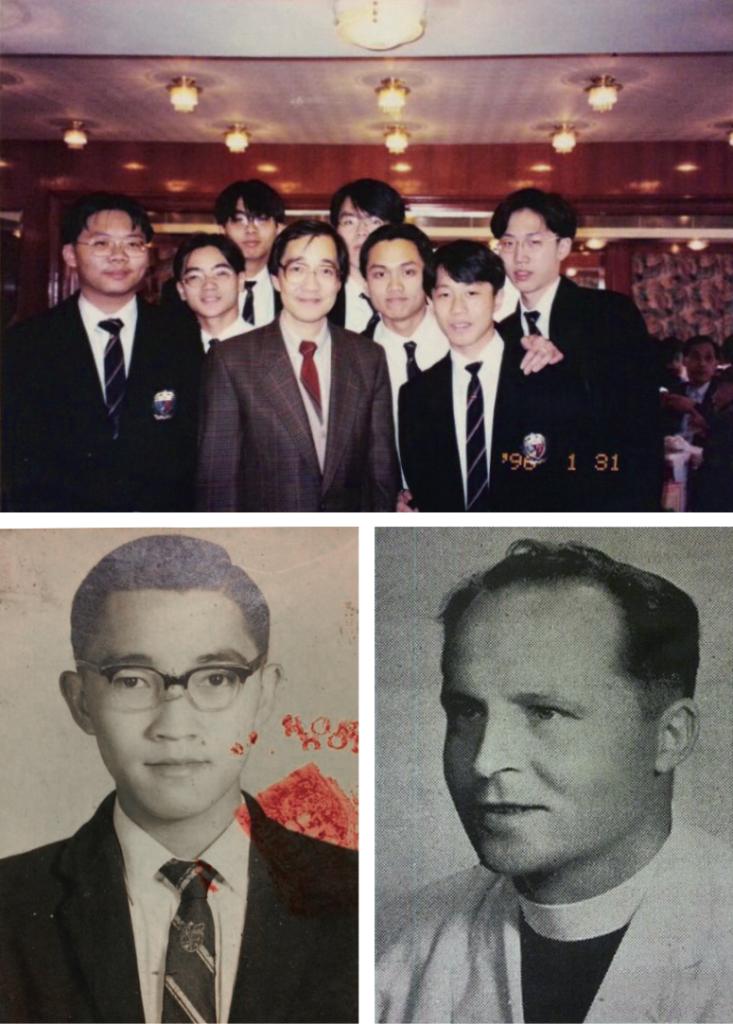 上)趙sir任教時與學生的合照,他也曾是Roger和Sunny他們的科任老師。(下左)趙sir學生年代的照片 (下右)Brother Alban,其教學模式對趙sir影響深遠,是趙sir心中最懂得教書的良師。