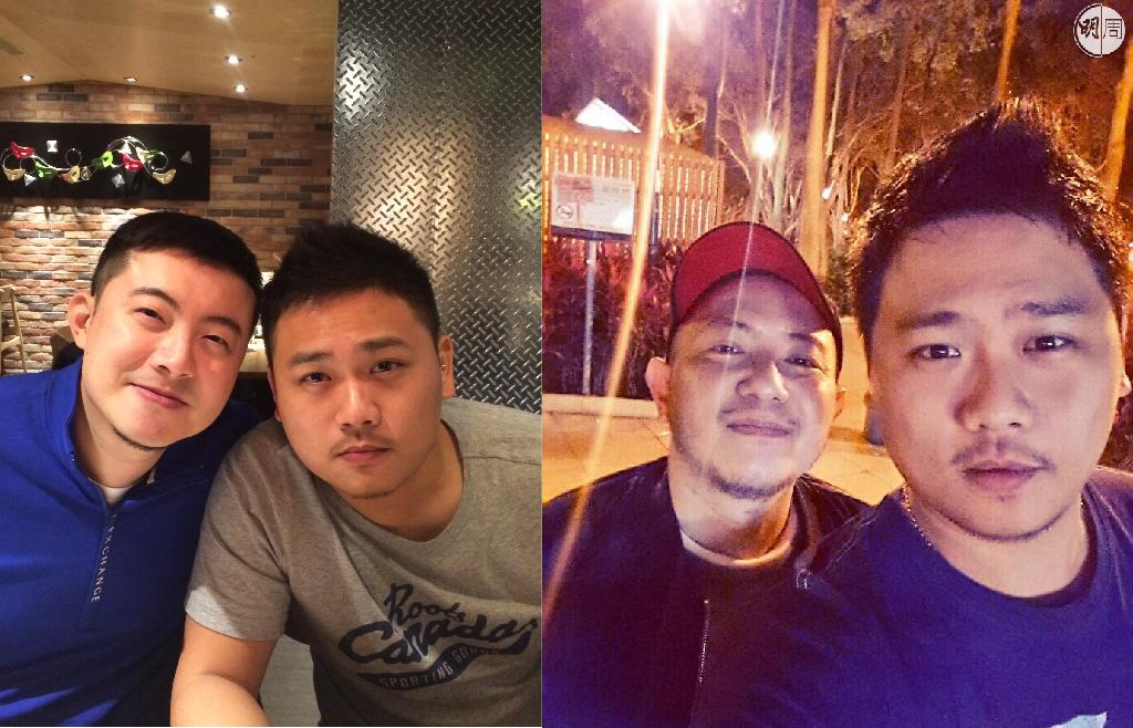 圖左是三人出外食飯時的相片,William與大峰合照;圖右是Hinson與大峰在家附近體育館做完運動後自拍。