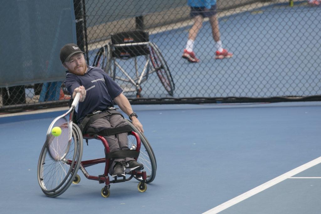 有預先安排行程下,在周末單車漫遊時巧遇澳洲輪椅網球大賽。