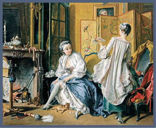 從宮廷畫師布歇所繪畫的油畫《La Toilette》的中式屏風和瓷器可見,當時的上流社會崇尚以中國風情為美的風氣。