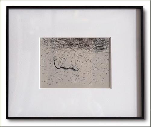 《觀雲的人,香港,2014》原作細小,卻鑲在畫框。作品中描繪的空間卻比大畫作要遼闊。
