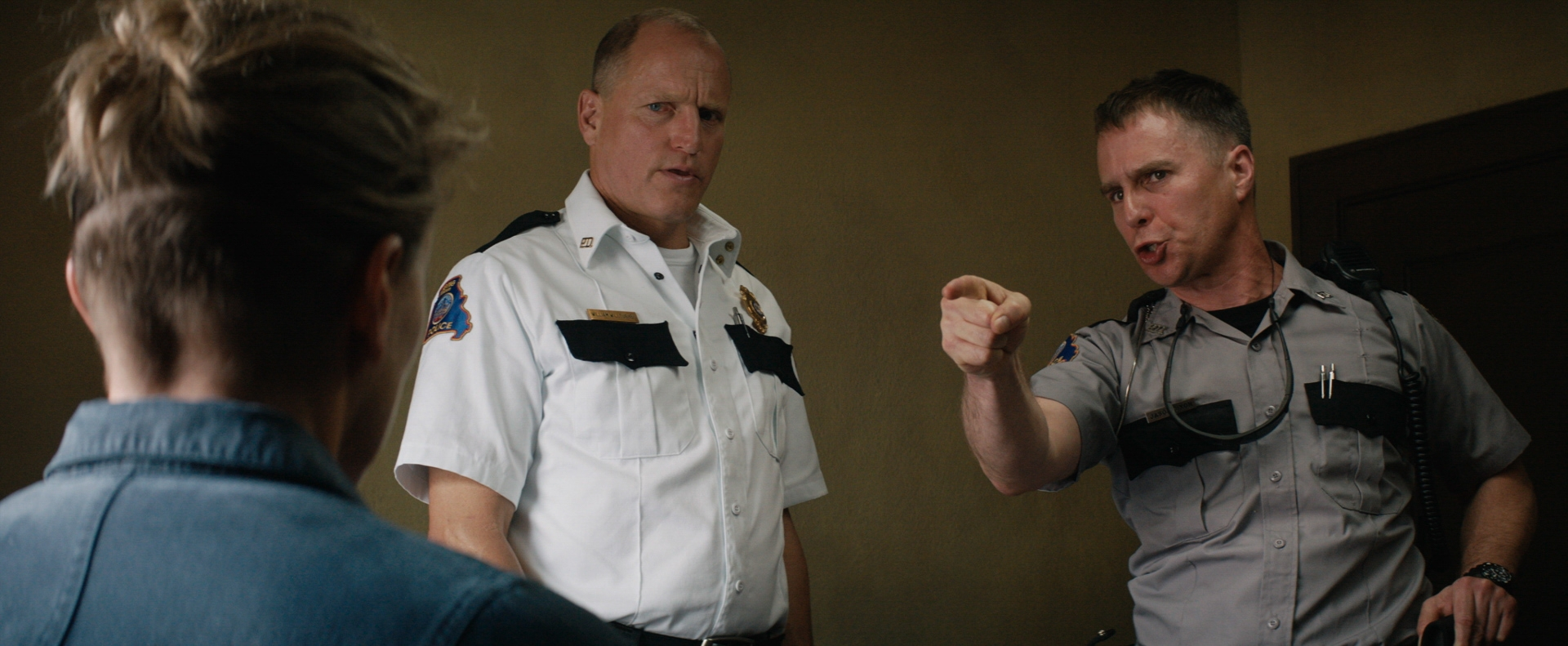 Woody Harrelson and Sam Rockwell in the film THREE BILLBOARDS OUTSIDE EBBING, MISSOURI. Photo courtesy of Fox Searchlight Pictures.© 2017 Twentieth Century Fox Film Corporation All Rights Reserved