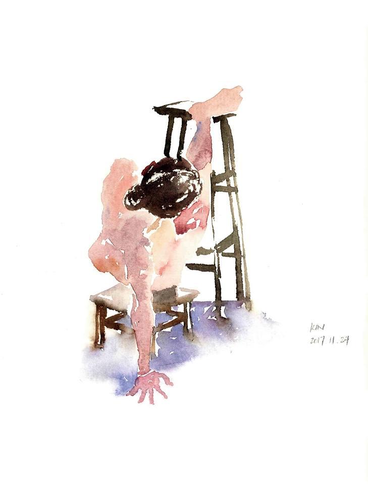 當人體模特兒時,他經常挑戰自己的極限,不怕動作辛苦。(畫家馮健勳畫作)