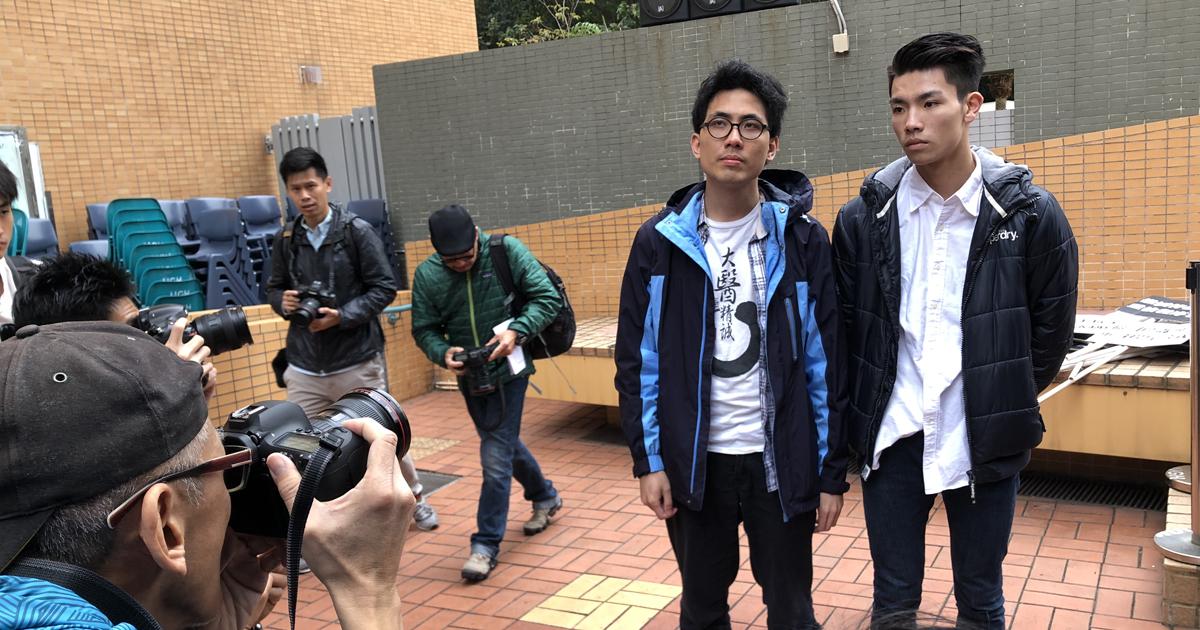 (左)陳樂行與(右)浸大學生會會長劉子頎上周五參與遊行,成了傳媒焦點。