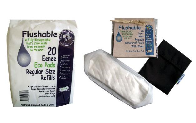 Eenee沖水式衞生巾需配合可循環再用的防水袋使用,用以將衞生巾固定在內褲上。