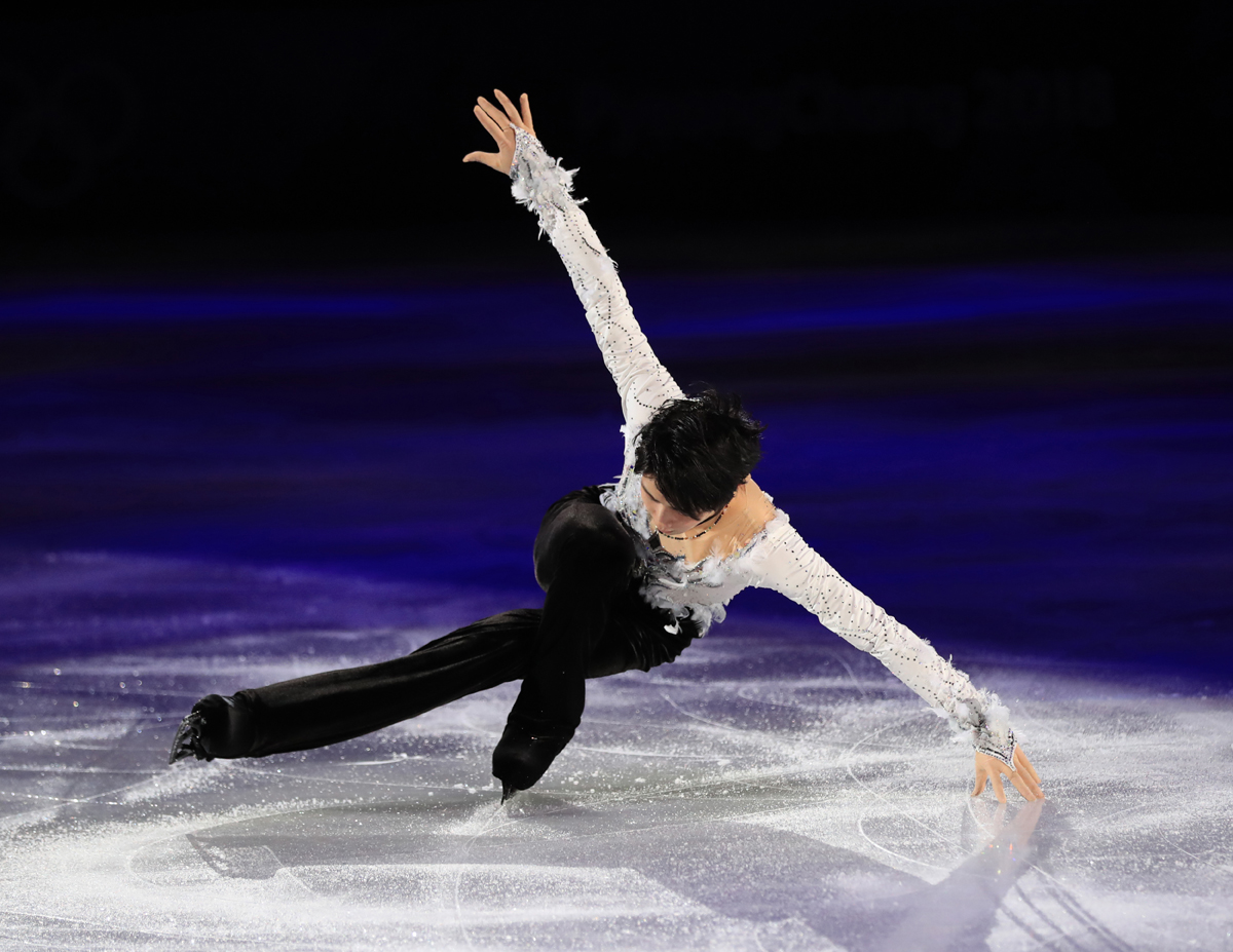 Japan's figure skater Yuzuru Hanyu performs during gala exhibition of the PyeongChang Winter Olympic Games at the Gangneung Ice Arena in Gangneung, South Korea on Feb. 25, 2018. Hanyu won the event to claim the gold medal. ( The Yomiuri Shimbun )