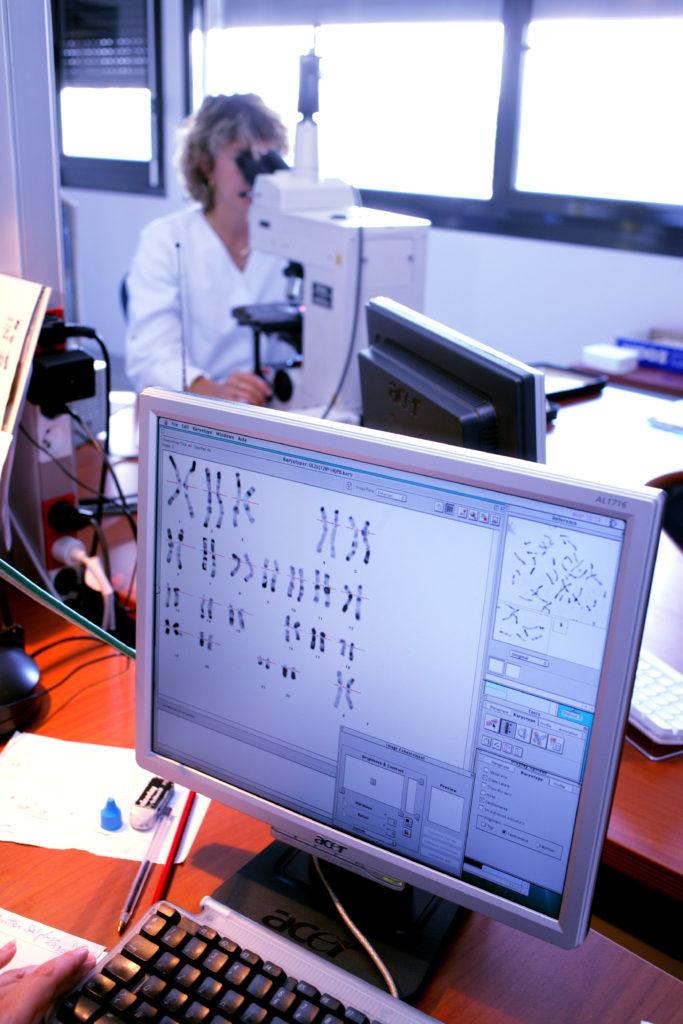 人類細胞內都有23對(共46條)染色體,各有長短。人體約有三十億個DNA鹼基對。