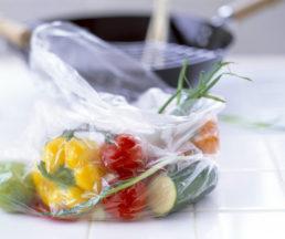 vegetables in plastic bag