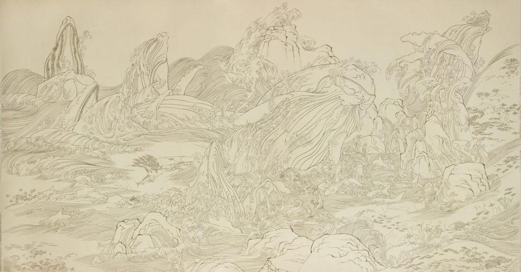 陳鈞樂今年代表「嘉圖現代藝術」參展的作品是一件三合一的大型工筆畫作,名為《海獸》。