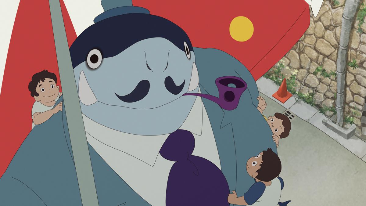 在《宣告黎明的人魚之歌》,湯淺政明貫徹怪誕風格,用兒時看美國卡通留下回憶,塑造人魚ルー(Ru)父親捧着煙斗的造型。