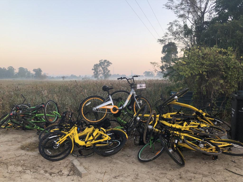 創新技術應用在「無王管」之下,與內地一河之隔的南生圍,已在承受共享單車的亂象。