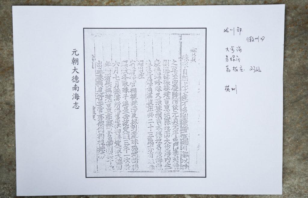 元朝時,香港是珍珠產場,大德八年(1304年)的《南海志》上寫有關於香港的地名,包括大步海(今吐露港)、青螺角、荔枝莊(今大埔海對出的赤門海峽)、橫洲(元朗)和屯門巡檢。