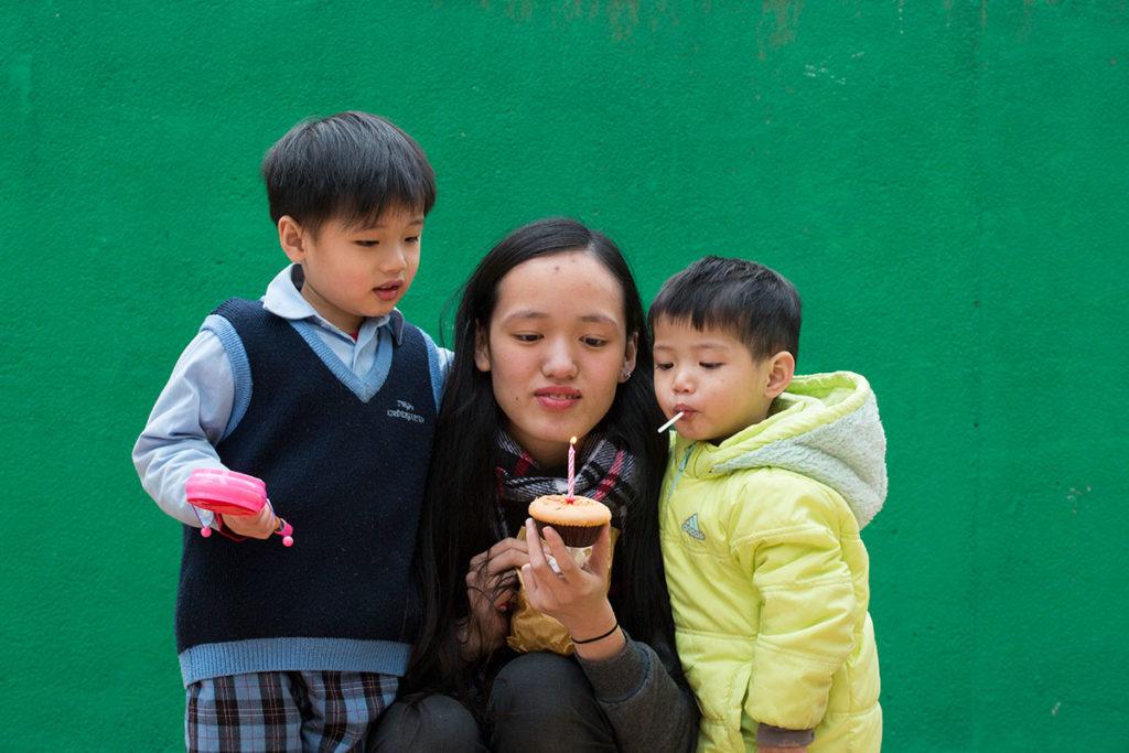 兩個兒子出生之後,阿晴終於再次慶祝生日。