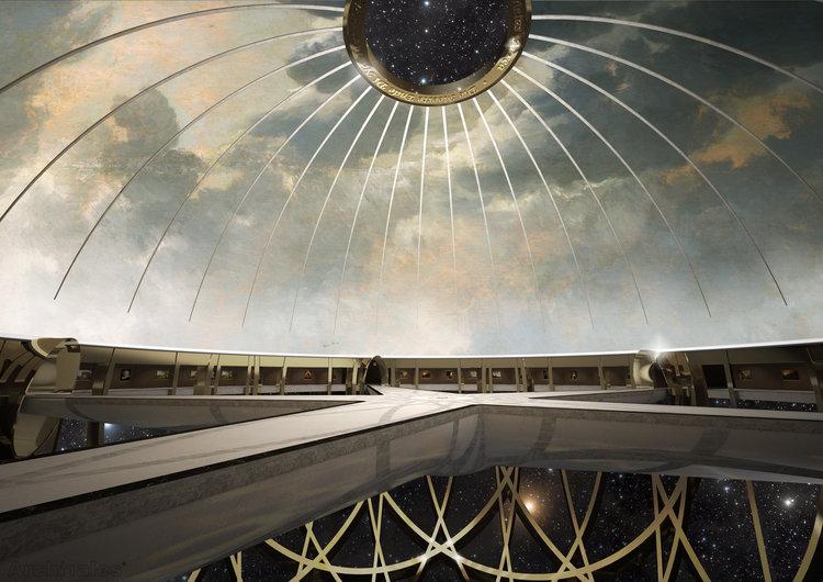 博物館的設計意念為懸浮太空中的星球,拱形天花繪上蔚藍晴空,中間則是「天窗」,觀者能從中向外窺探浩瀚宇宙。