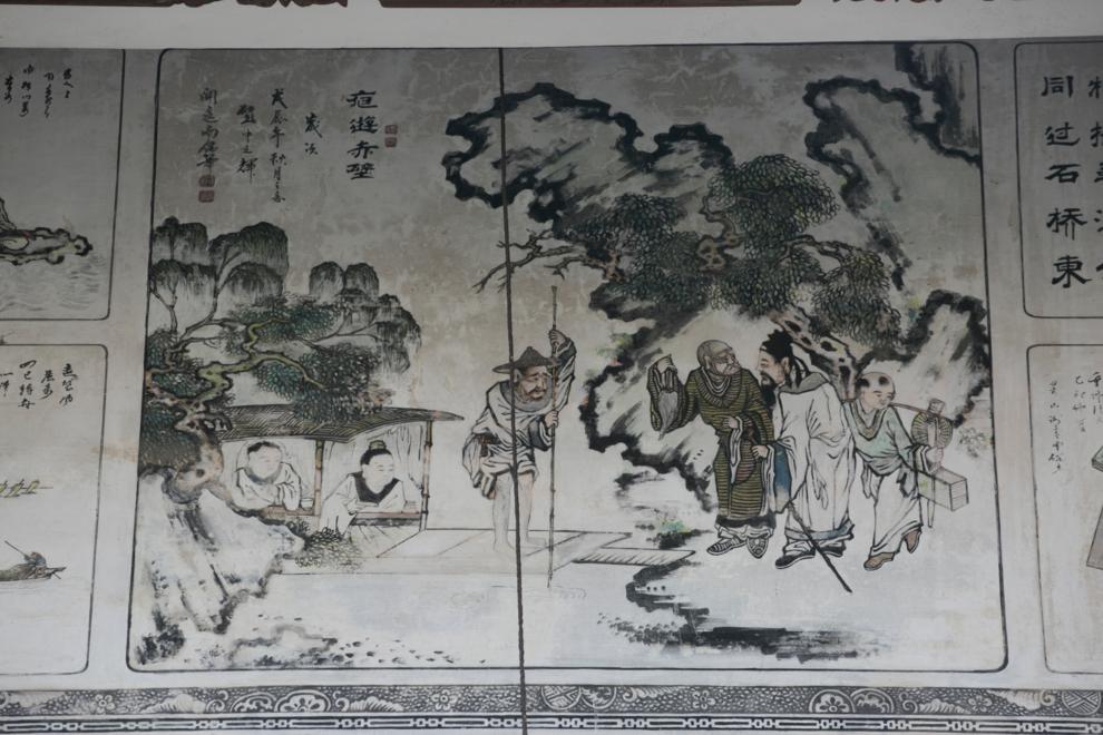 門牆上的壁畫「夜遊赤璧圖」,畫功精妙不已。