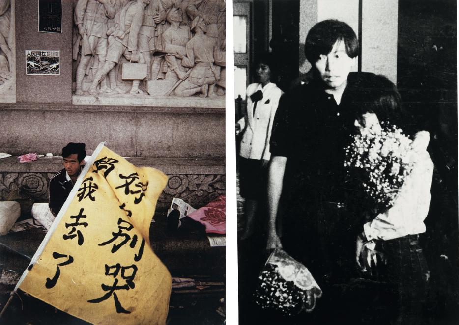 (左)北京學生進行絕食 (右)1989年6月8日,李卓人 被扣留三天後獲釋返港。