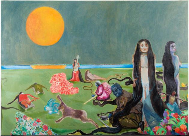 祼女的長髮為乞丐和街頭藝人提供庇護,自製滑板的殘疾人和巨兔追逐,段建宇筆下的《春江花月夜》描繪出一個弔詭的世界。(圖片:2018Duan Juanyu)