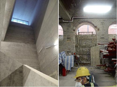 正進行建造和翻新:亞畢諾翼將設有劇院和機電設施,左圖為新建樓梯;打開D大樓西翼新發現拱門與拱頂的空間,該大樓連接前監獄操場。(圖片由約翰百德攝於2016年)