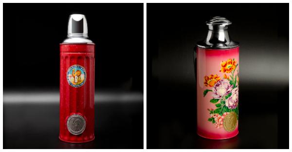 (左)駱駝牌1947年出品的「147」是香港工業史上的重要設計,看似簡單的凹槽鑄造,卻美觀、實用兼備。(右)五十年代推出市場的水壺以手工精湛的噴畫為賣點,每逢農曆新年及工展會都會推出新的款式,是送禮佳品。