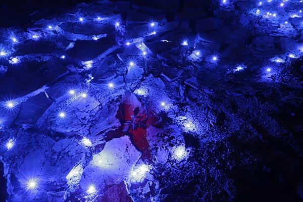 攝於大潭水塘。藍光映照著乾塘,好像在另一星球上。