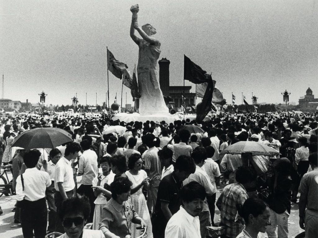 擺放在天安門的民主女神像
