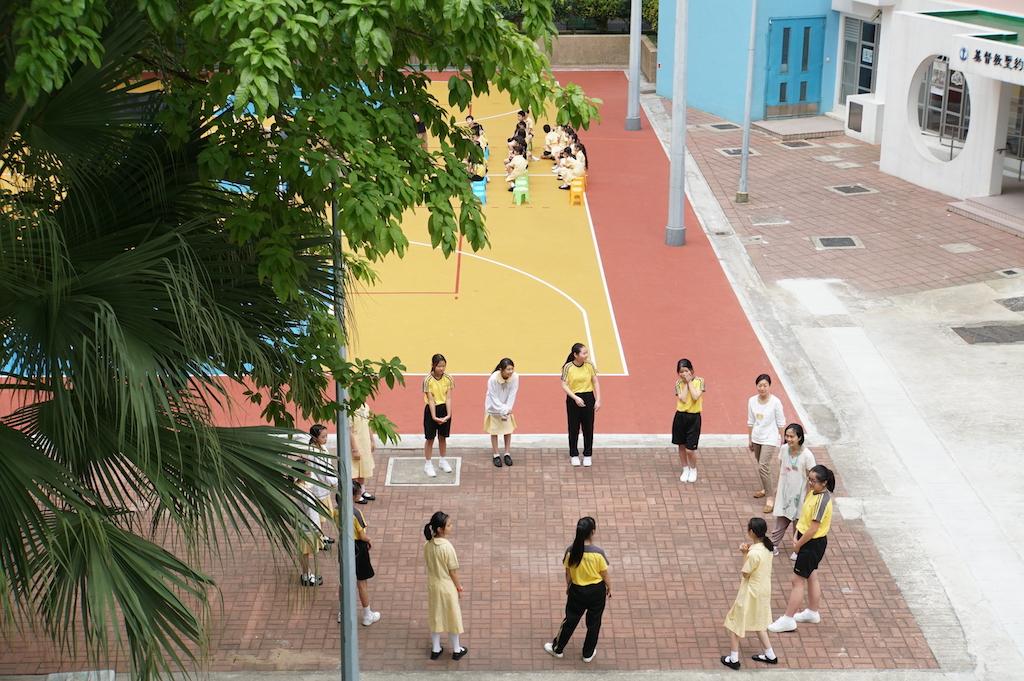 校門外的操場,有一棵大樹就在屋邨旁邊。