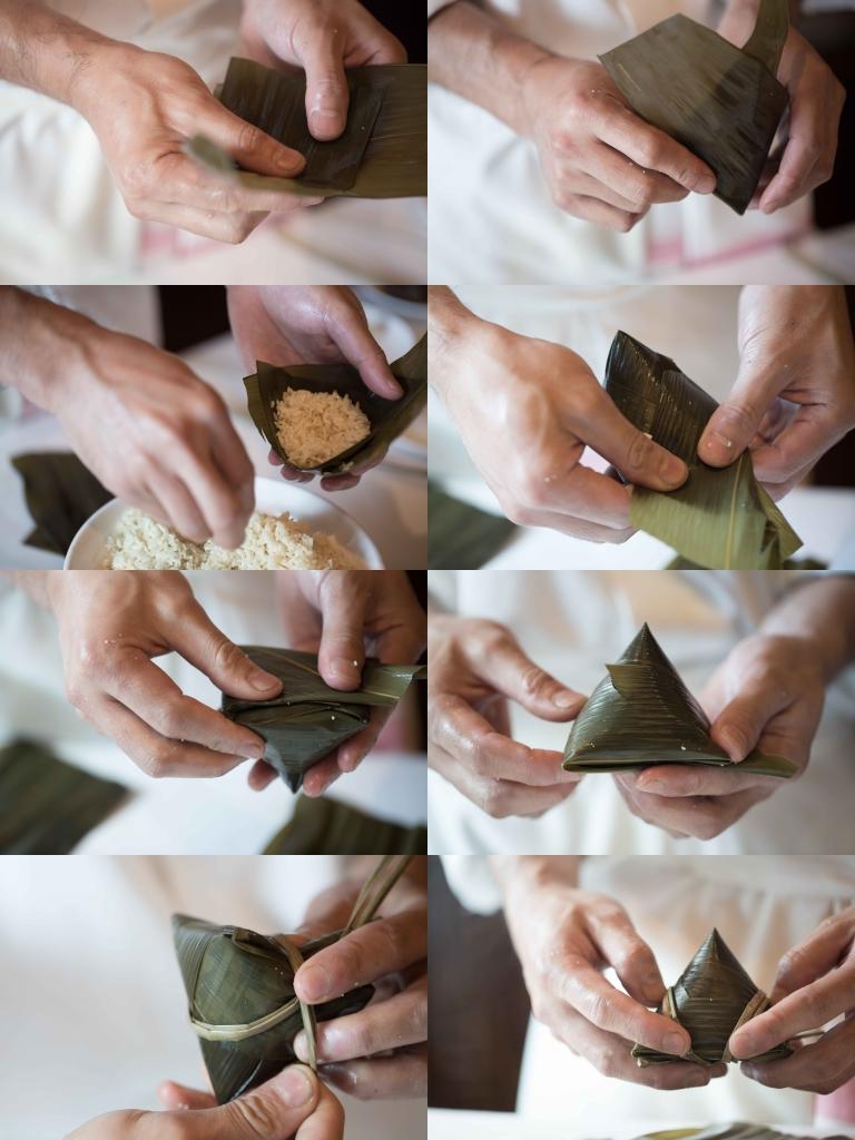 迷你蓮蓉梘水粽 // 像迷你梘水粽,以單片竹葉包成,粽子體積小巧。 ($160/3隻)