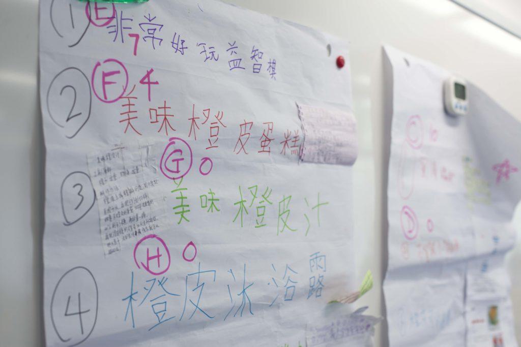 各小組都提出建議,最後大家共同選出一個主題。過程需要學生良好溝通,如何表達自己。