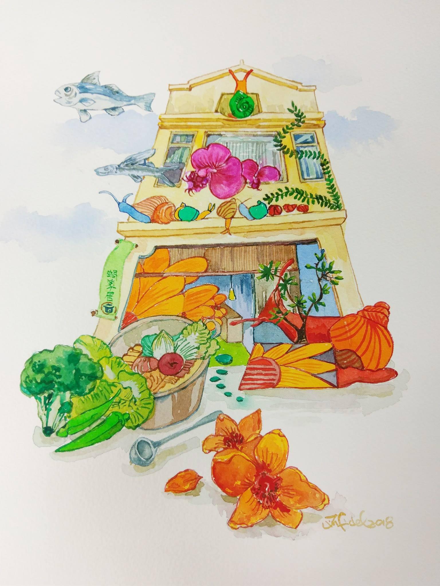店名叫做「蝸篆居」,螺旋標誌,代表將食材化成好能量轉出去,也將外界的好能量引進食材。