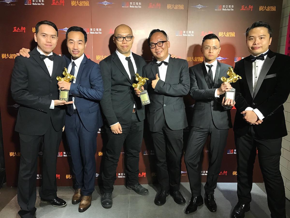 《樹大招風》六位導演及編劇,(左起)黃偉傑、麥天樞、許學文、龍文康、伍奇偉、歐文傑。電影獲得第53屆金馬獎最佳剪接、最佳原創劇本兩獎。